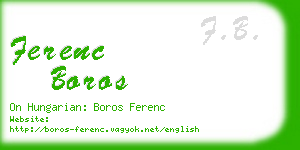 ferenc boros business card